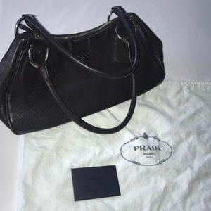 Prada Genuine Leather Dark Brown Mini Shoulder Bag